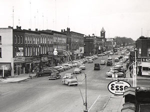 Broadway and Oxford streets, circa 1955